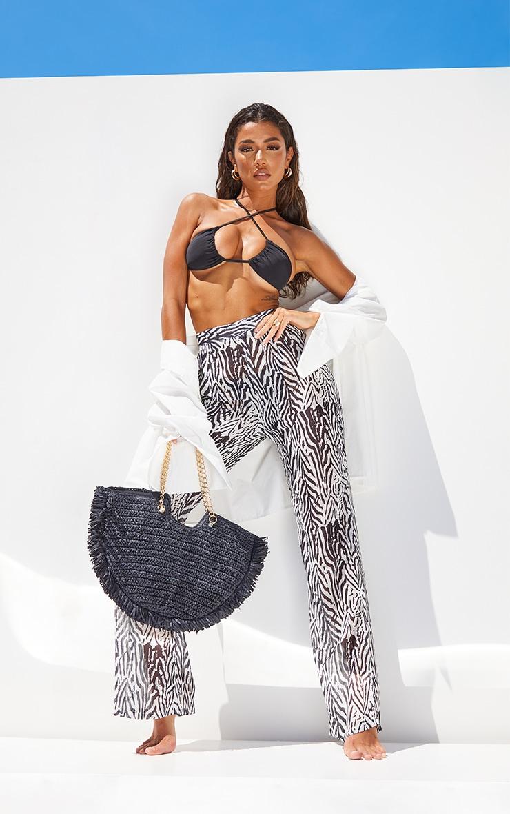 Black Zebra Print Beach Trousers 1
