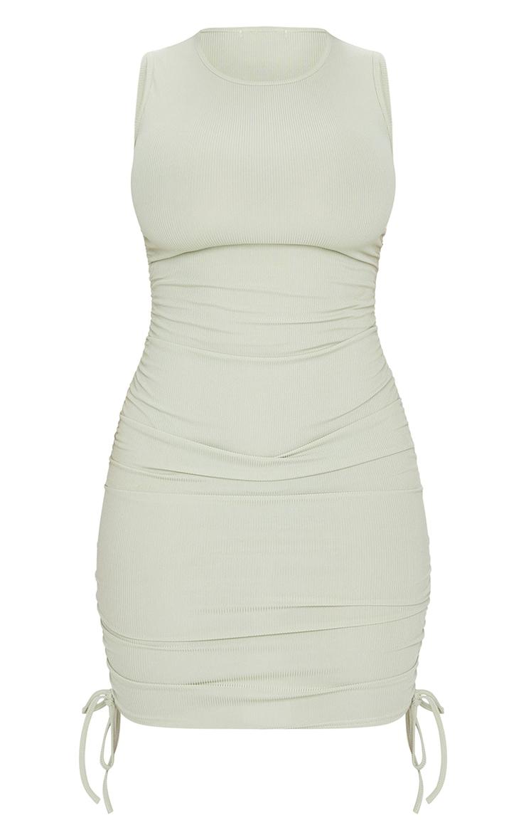 Shape Sage Green Rib Ruched Side Sleeveless Bodycon Dress 5