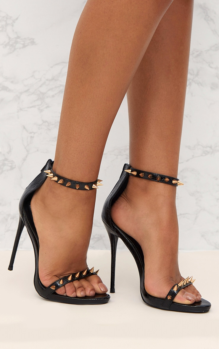 Black Stud Detail Strappy Stiletto Heels 1
