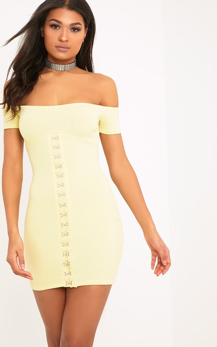 Millia Lemon Bardot Hook And Eye Detail Bodycon Dress  1
