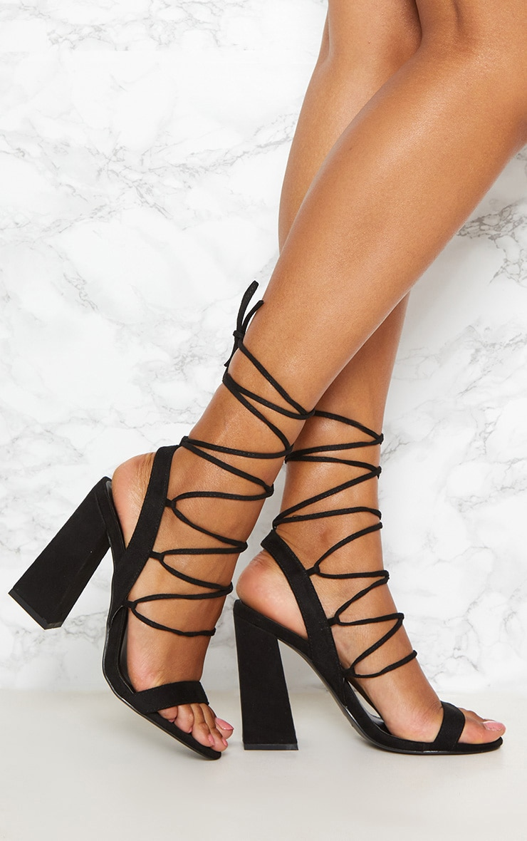 Black Ghillie Lace Up Block Heel 1