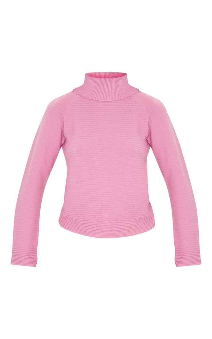 Pink Ribbed Oversized Knit Jumper 3