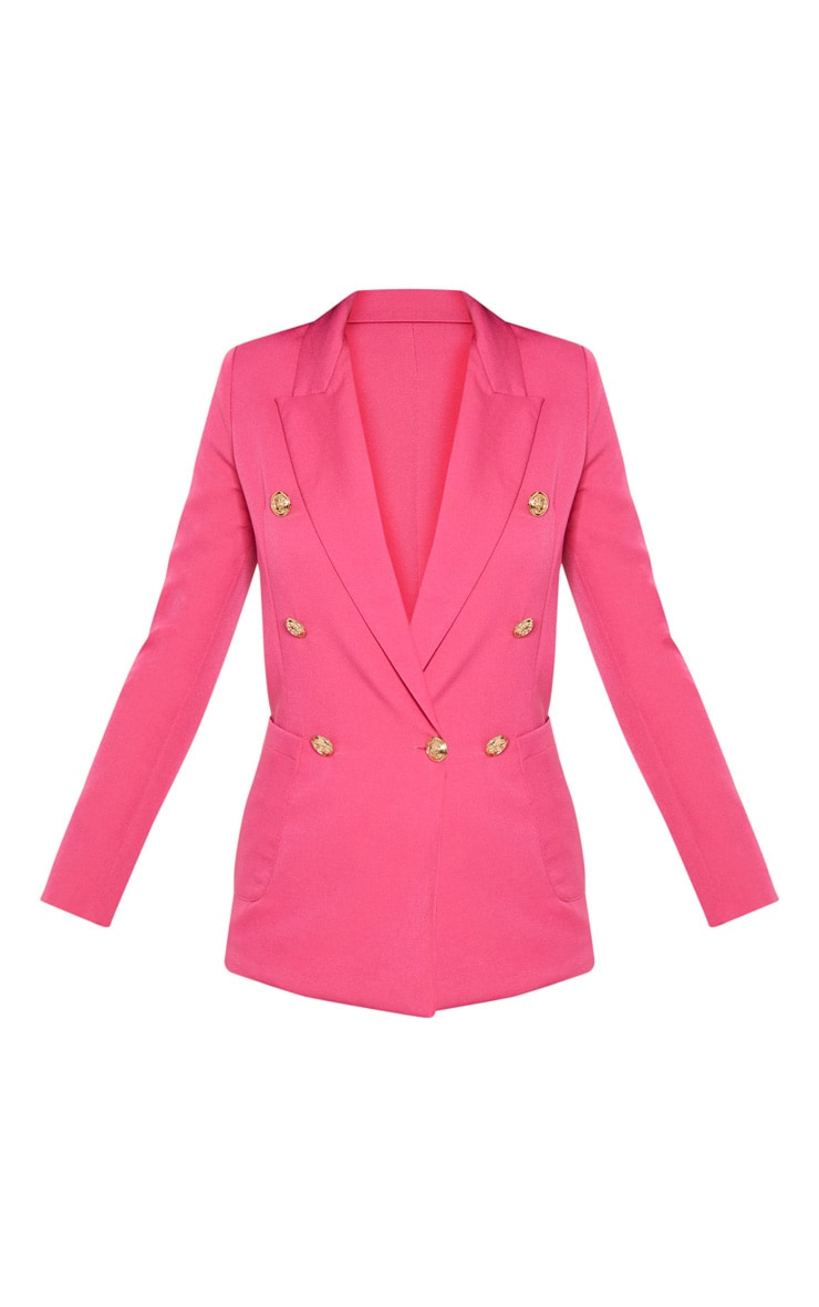 Pink Double Breasted Military Blazer  3