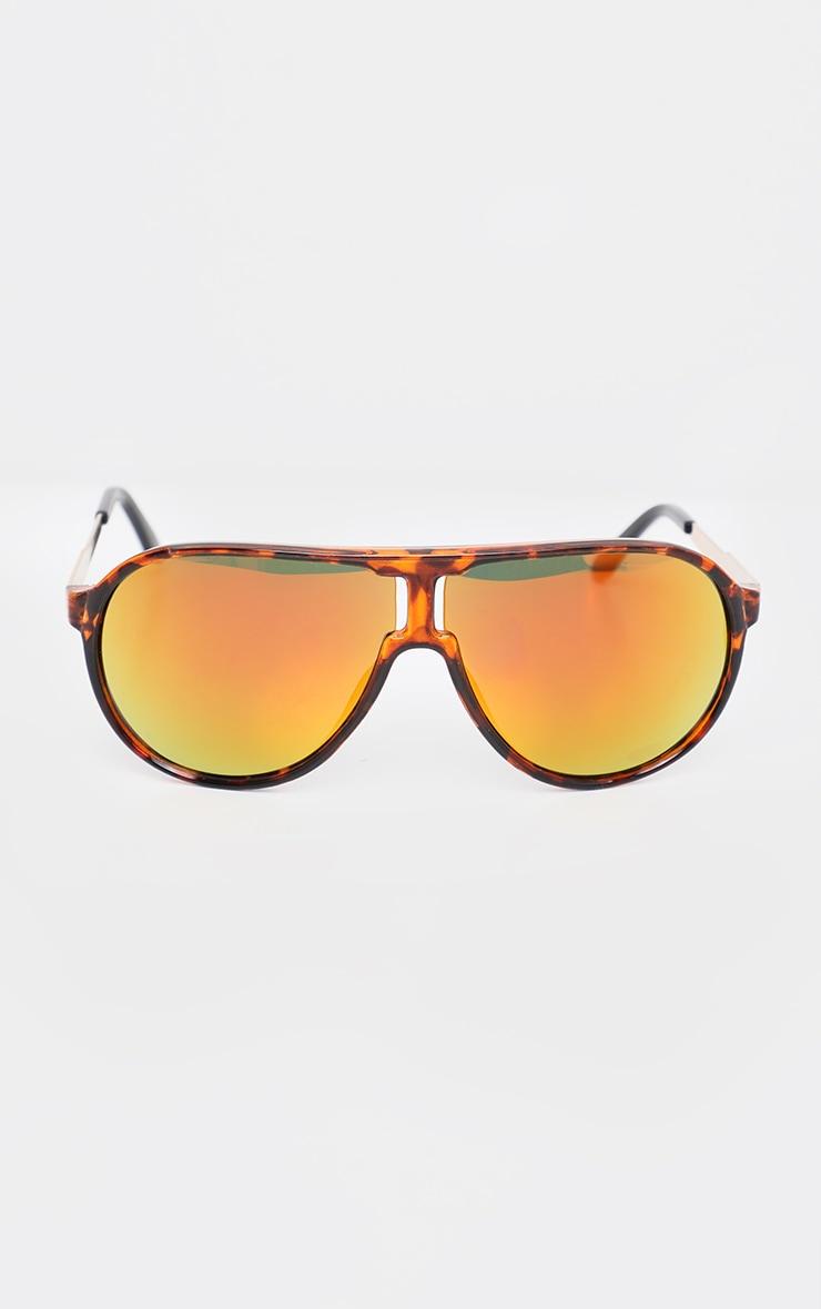 Gold Revo Lens Tortoiseshell Visor Sporty Sunglasses 2