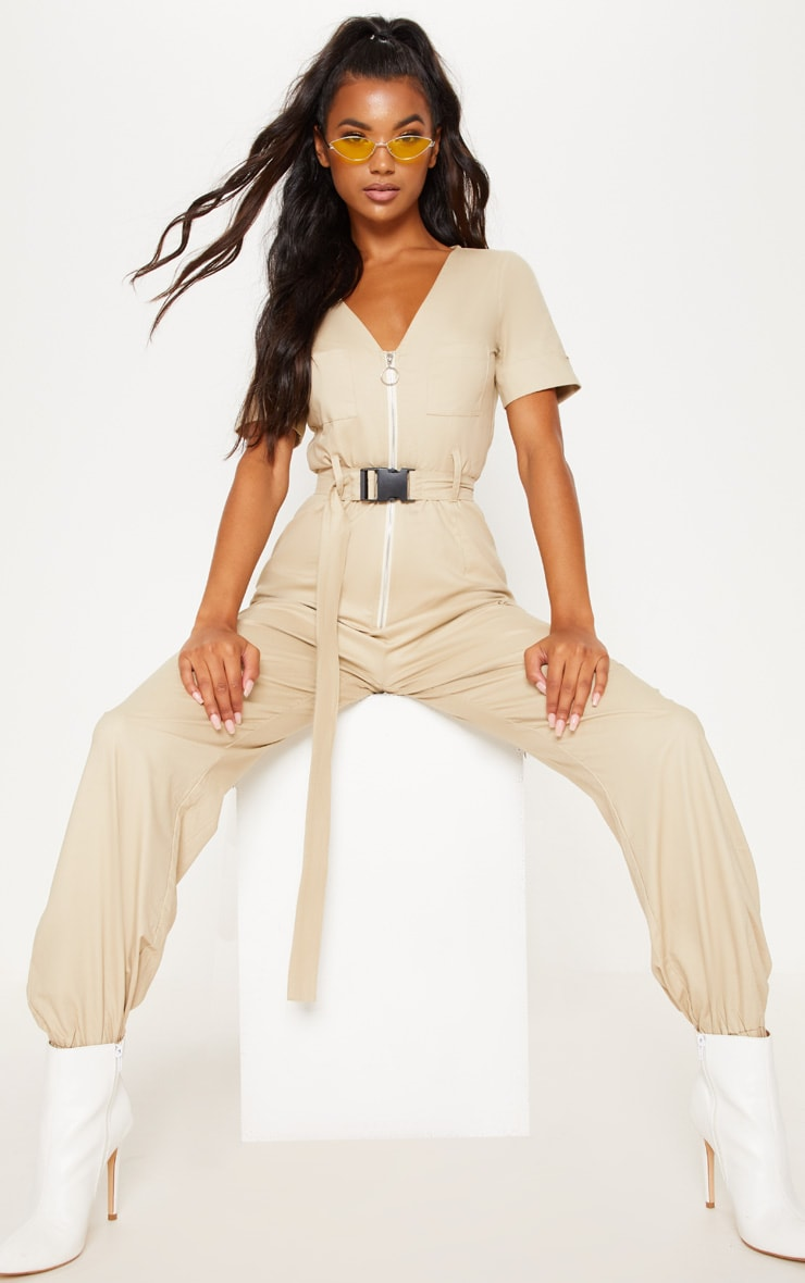 Stone Cargo Zip Up Jumpsuit 2