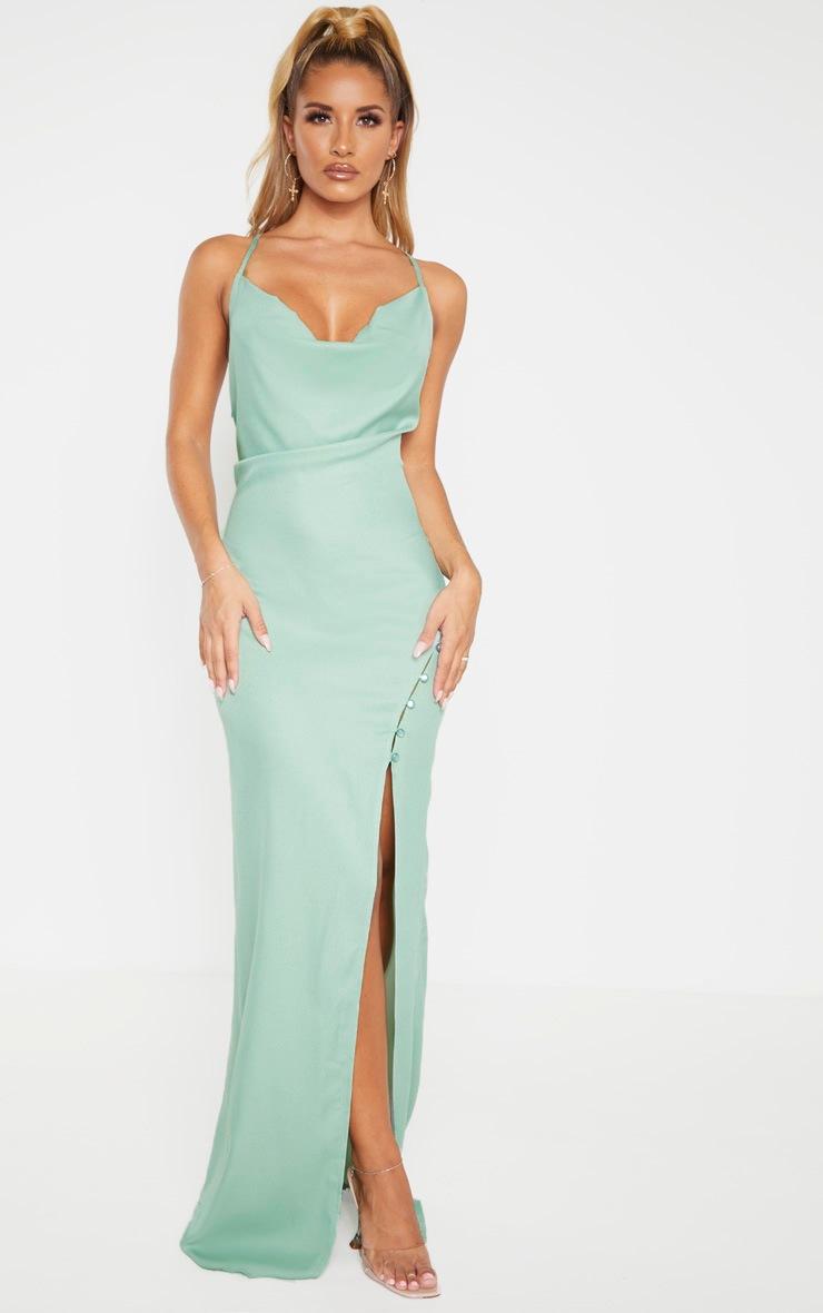 Sage Khaki Cowl Neck Button Maxi Dress  4