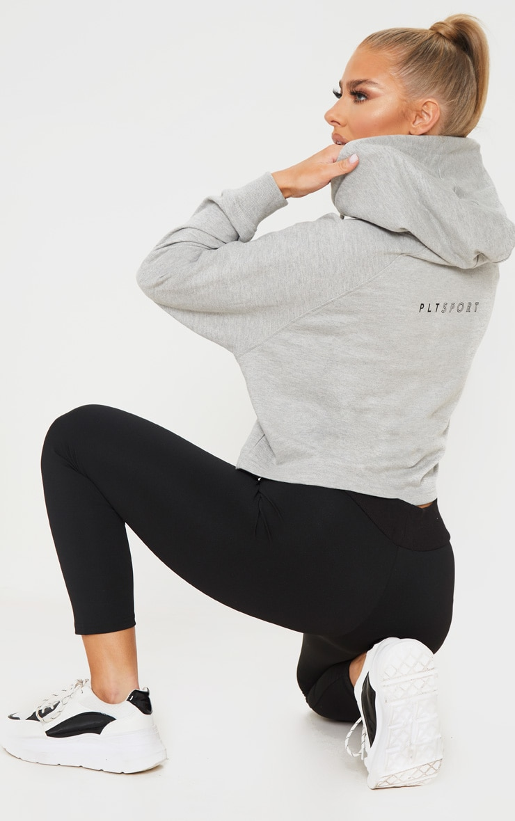PRETTYLITTLETHING Grey Soft Zip Up Gym Sweat Hoodie 1