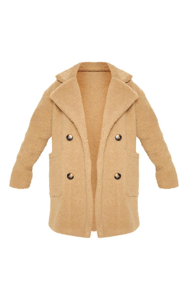 Manteau mi-long en imitation peau de mouton camel 3