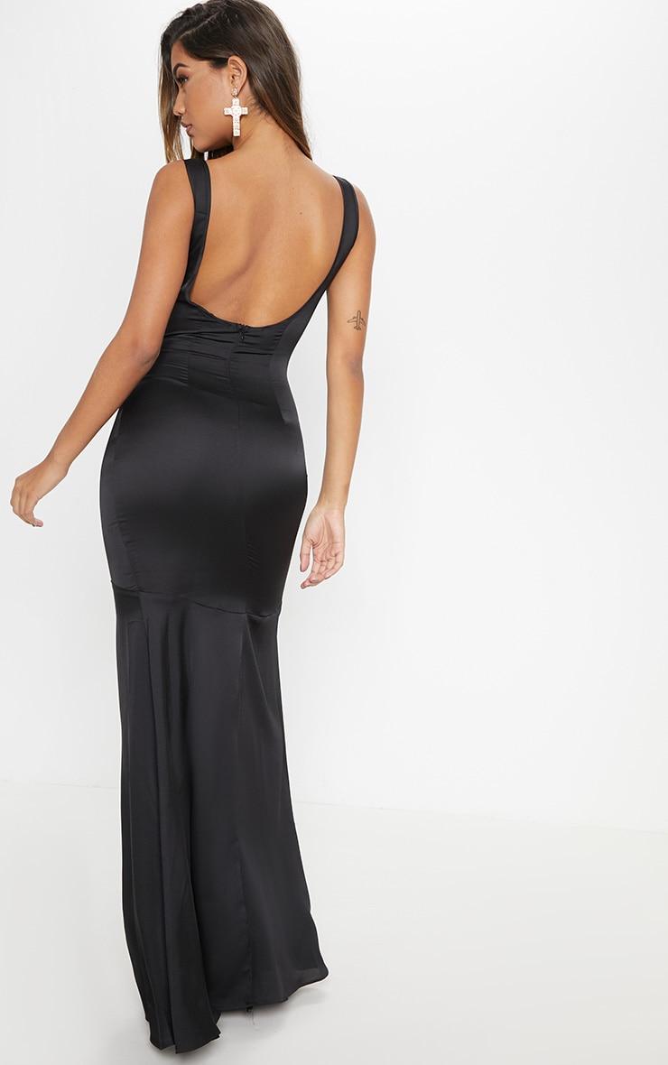 Black Satin Thick Strap Fishtail Maxi Dress 2
