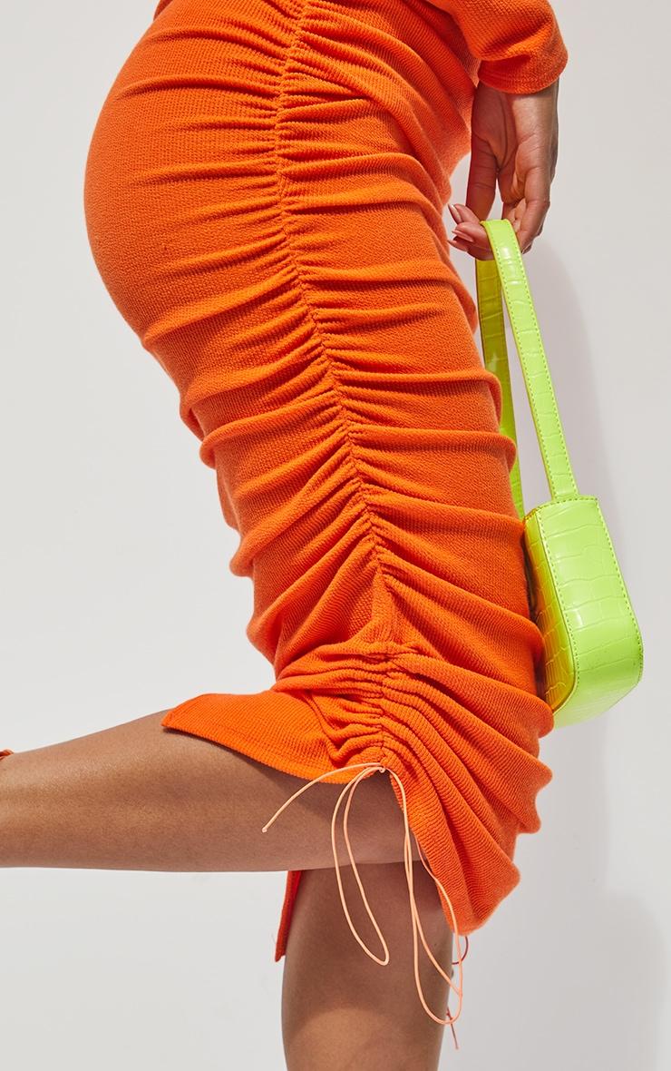 Orange Ribbed Long Sleeve Ruched Midi Dress 4