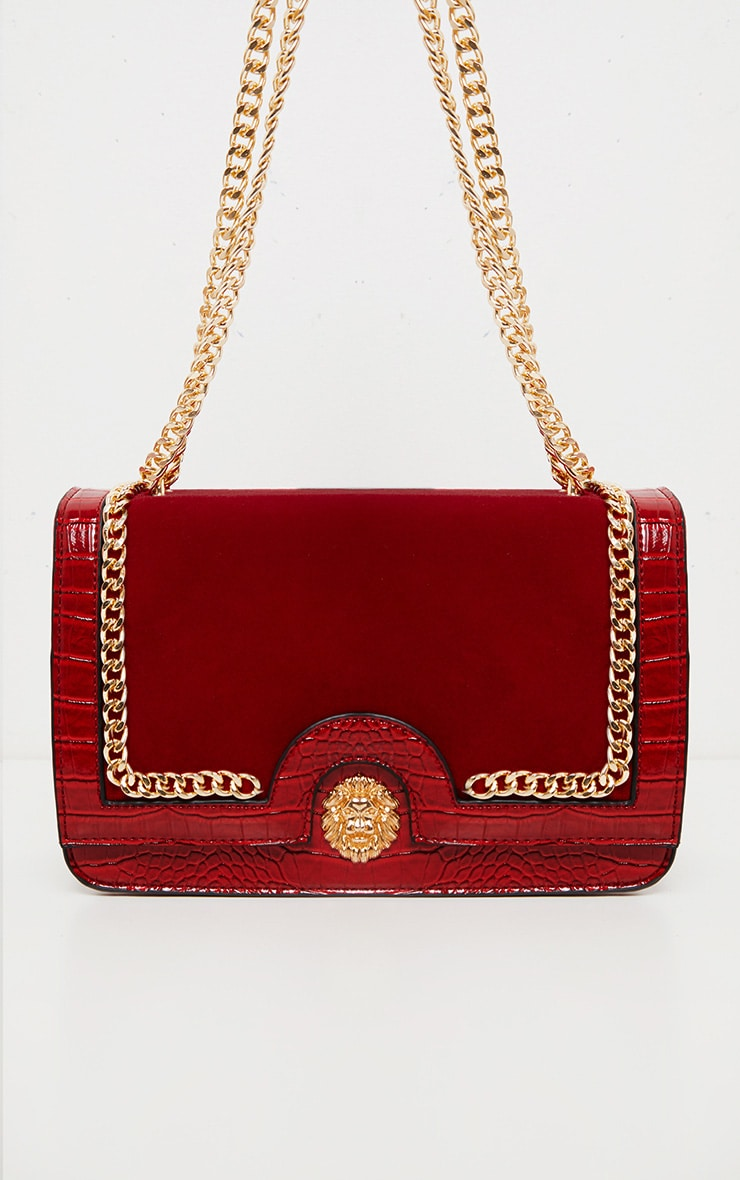 Scarlet Patent And Velvet Contrast Lion Head Cross Body Bag 2