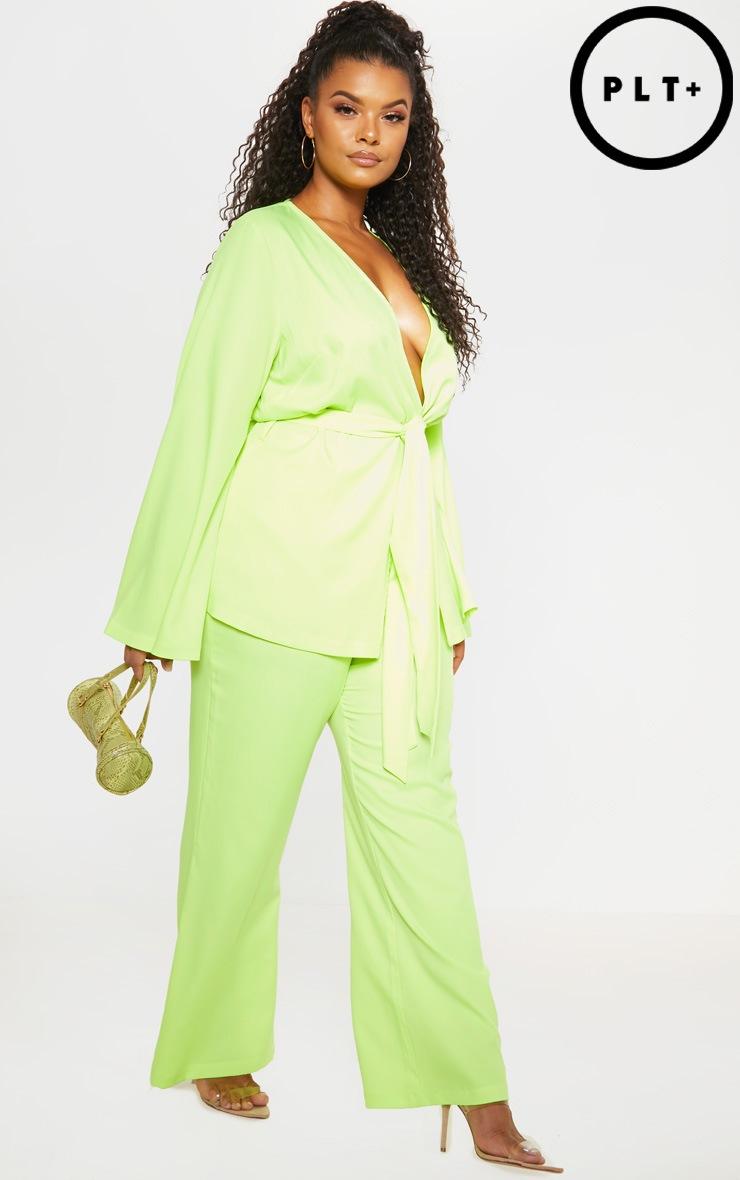 Plus Neon Lime Woven Wide Leg Suit Trouser  1