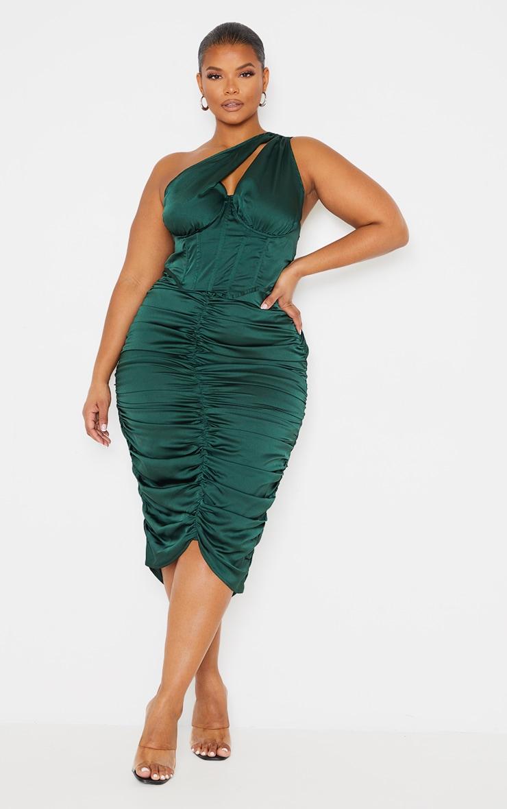 Plus Emerald Green One Shoulder Corset Ruched Satin Midi Dress 3