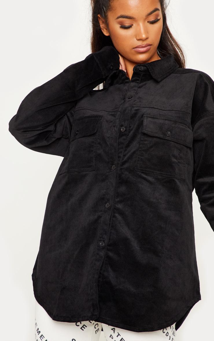 Black Oversized Cord Denim Shirt 5