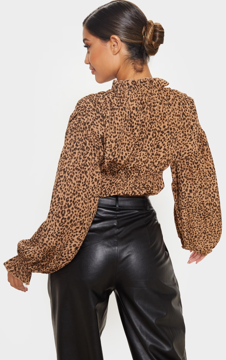Tan Leopard Woven Leopard Print Ruched Tiered Blouse 2