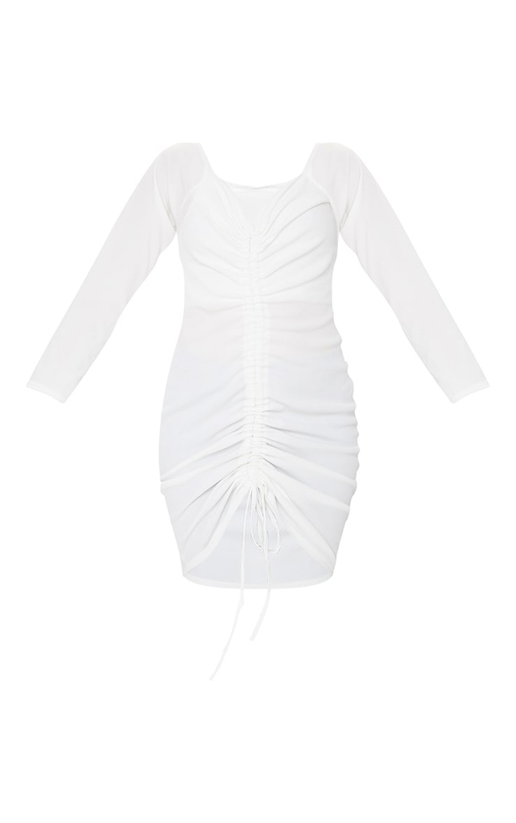 Plus White Ribbed Long Sleeve Bardot Ruched Bodycon Dress 5