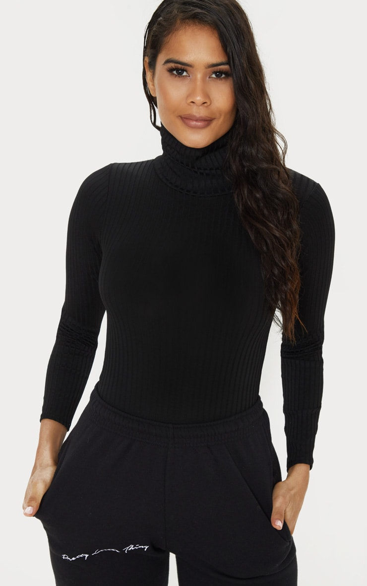 Black Rib Roll Neck Long Sleeve Bodysuit by Prettylittlething