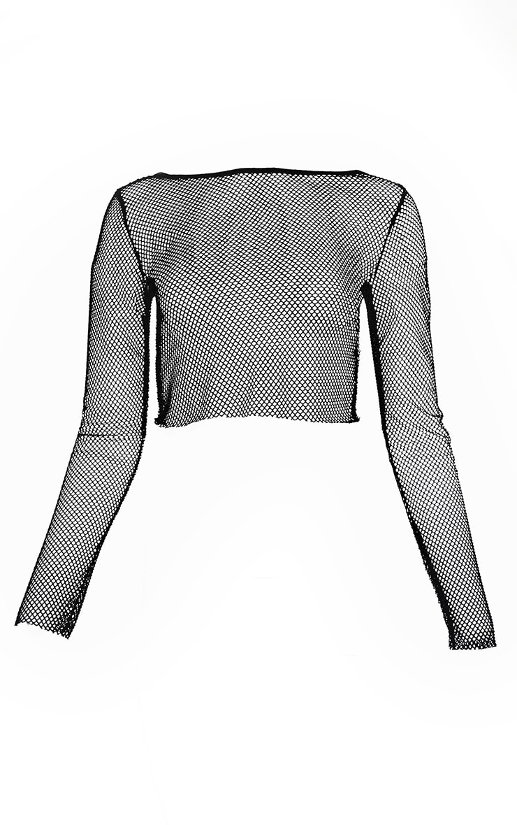 Black Fishnet Crew Neck Long Sleeve Top 4
