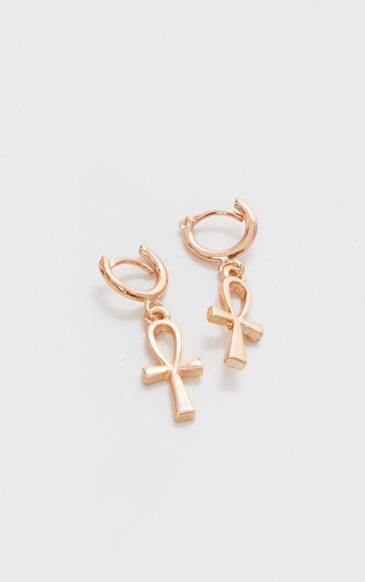 Gold Mini Ank Hoop Earrings 3