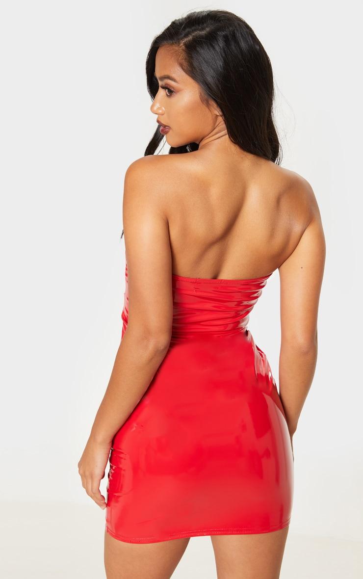 Petite Red Vinyl Mini Dress  2