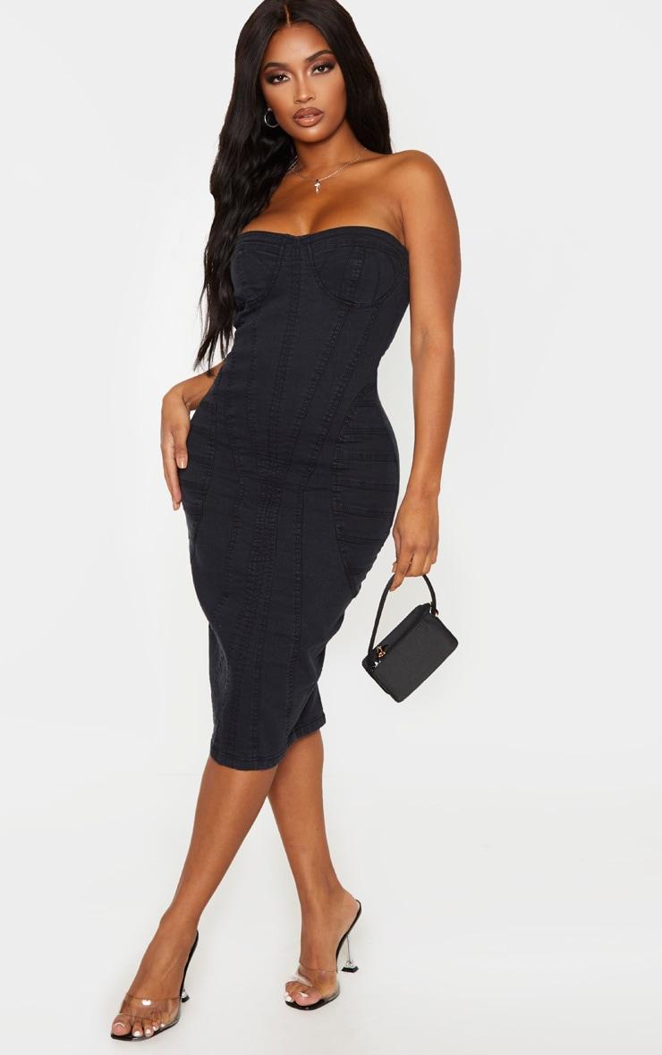 Shape Black Denim Corset Detail Midi Dress 4