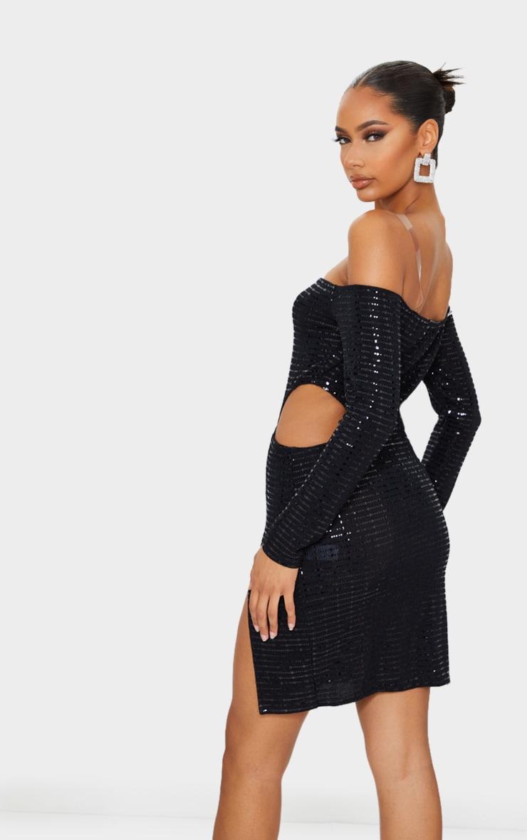 Black Glitter Clear Strap Cut Out Split Detail Bodycon Dress 2