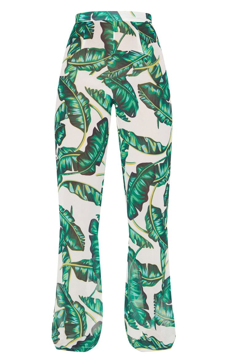 Green Palm Print Beach Flares 2