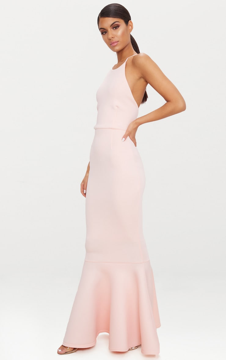Nude Cross Back Fishtail Maxi Dress 4