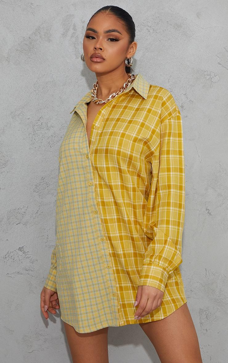 Yellow Contrast Check Panel Oversized Shirt Dress 1