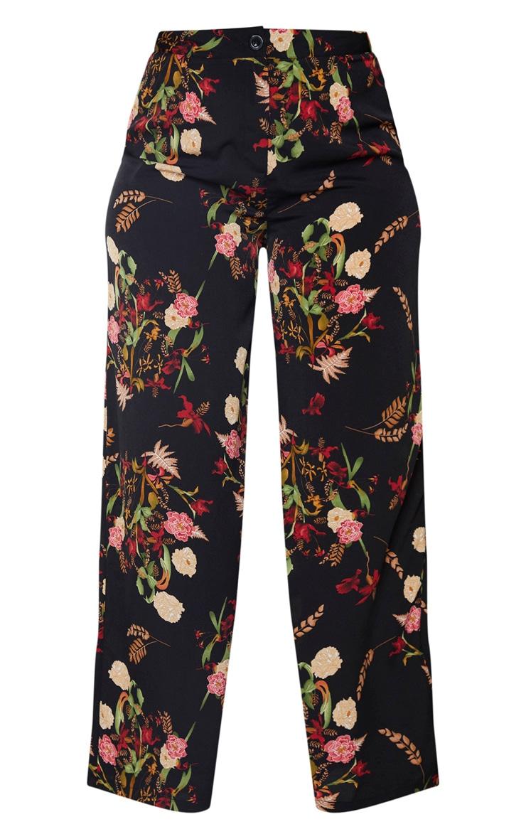 Plus Black Oriental Print Wide Leg Trouser 3