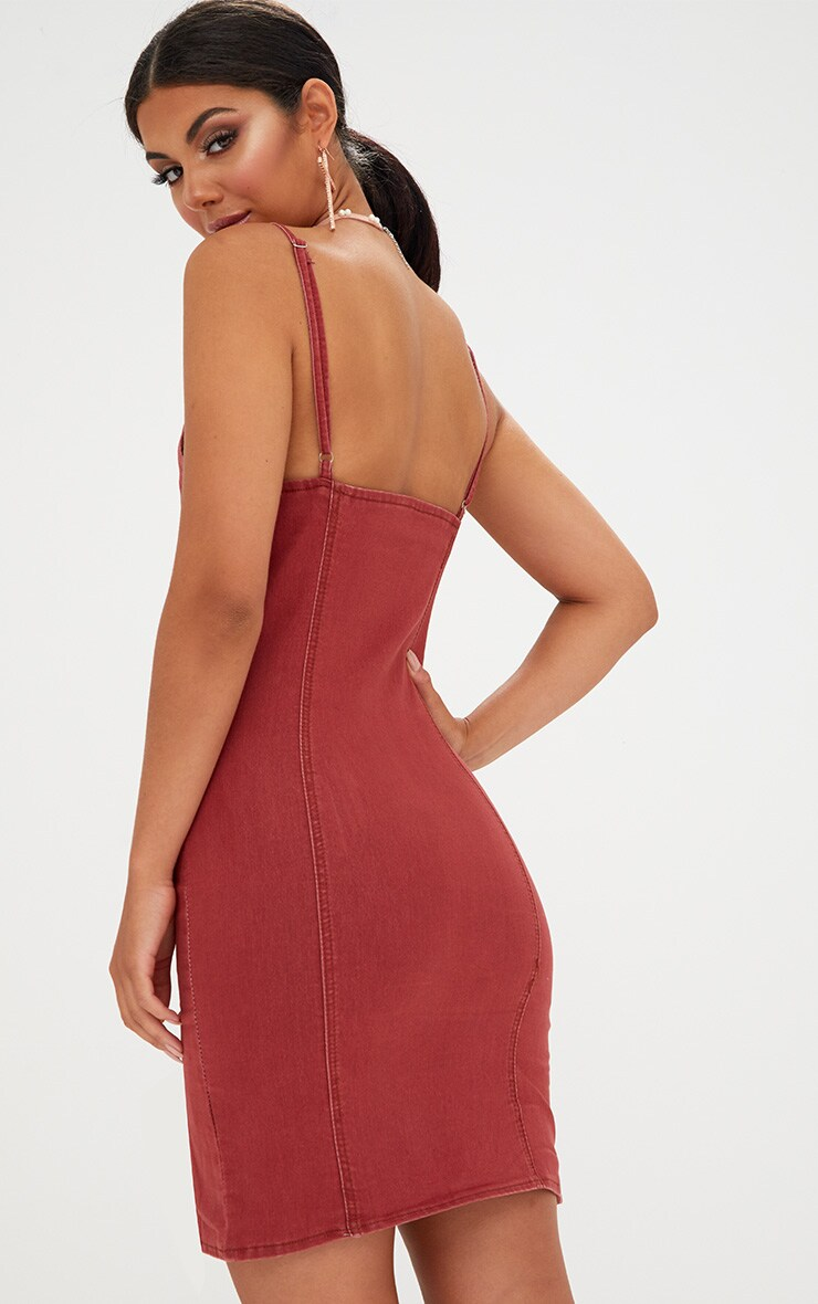 Dark Red Button Detail Bodycon Denim Dress 2