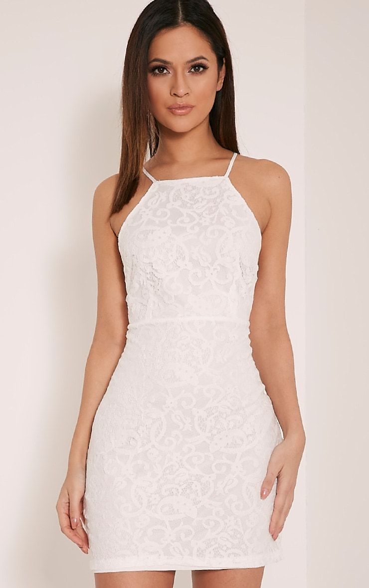 Elora White Cross Back Lace Mini Dress 1