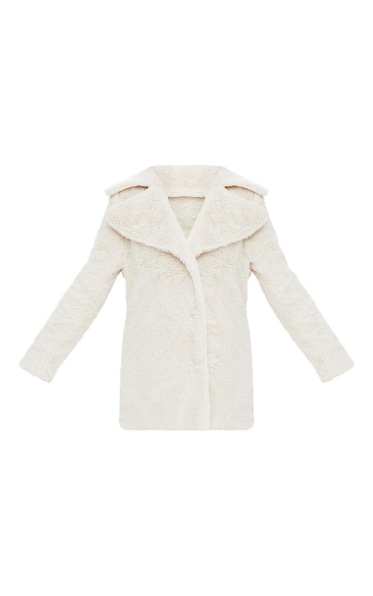 Cream Mid Length Faux Fur Coat 3