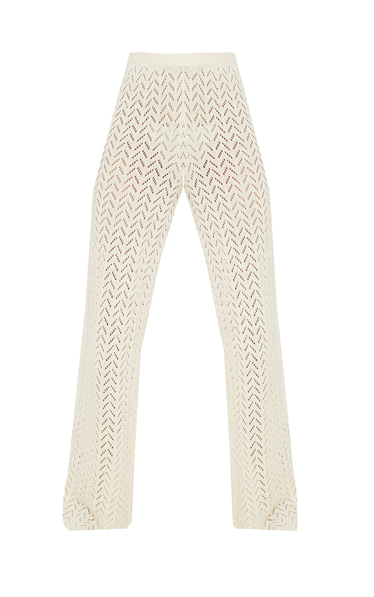 Cream Crochet Knitted Flare Trousers 5