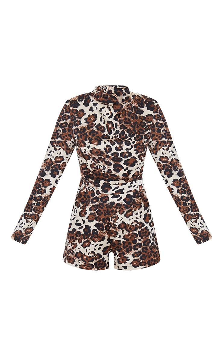 Tan Leopard Print Draped Neck Shoulder Pad Playsuit 5