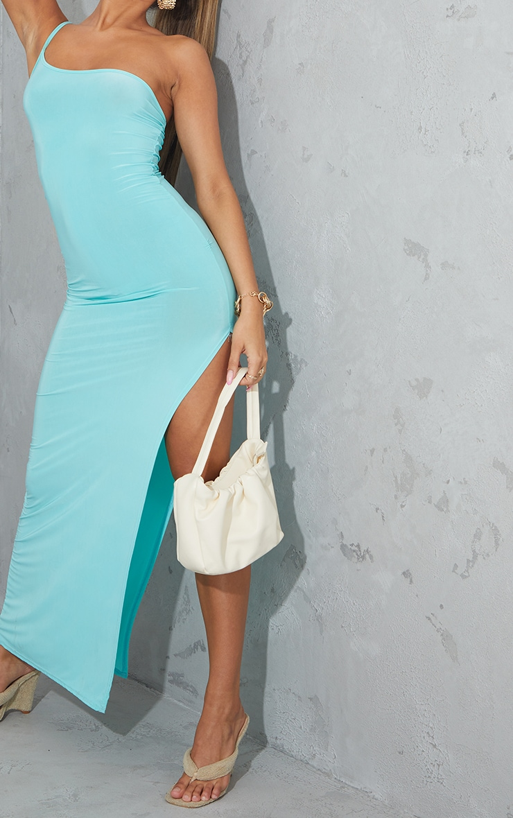 Aqua Blue One Shoulder Slinky Maxi Dress 4