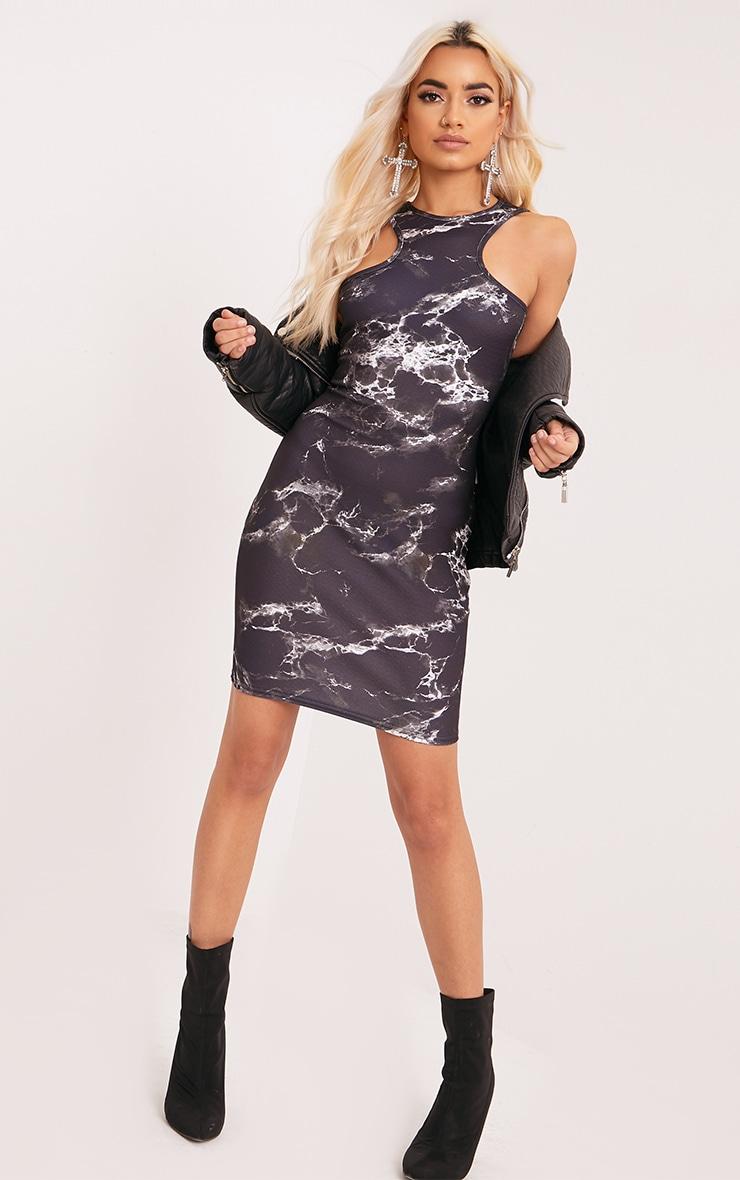 Ivankah Black Marble Racer Neck Bodycon Dress  5