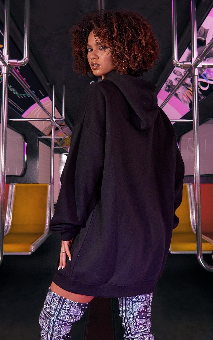 Black Oversized Hoodie Jumper Dress 3