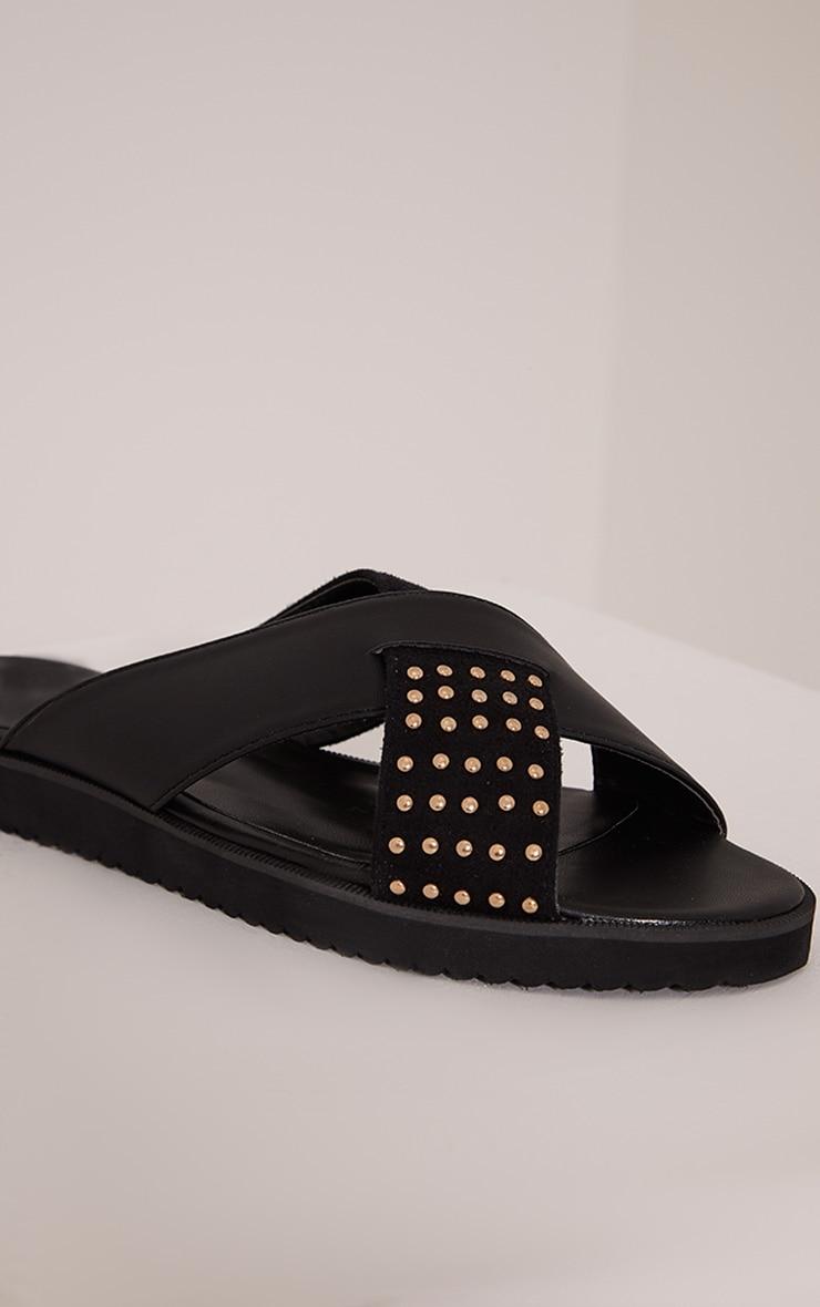 Aalia Black Stud Detail Sliders 5