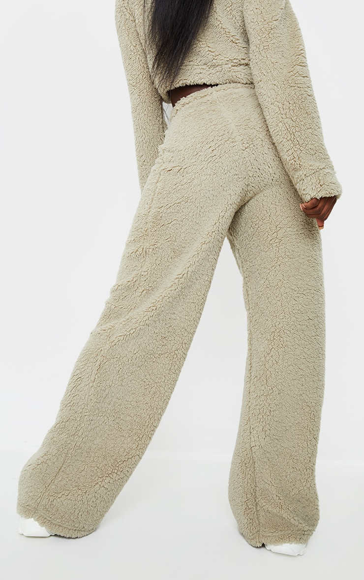 Tall Sage Green Soft Borg Wide Leg Joggers 3