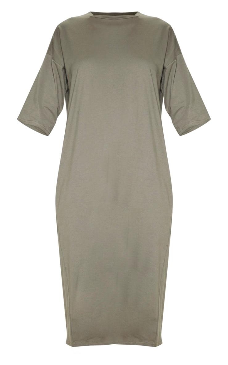 Khaki Oversized Midi T Shirt Dress 3