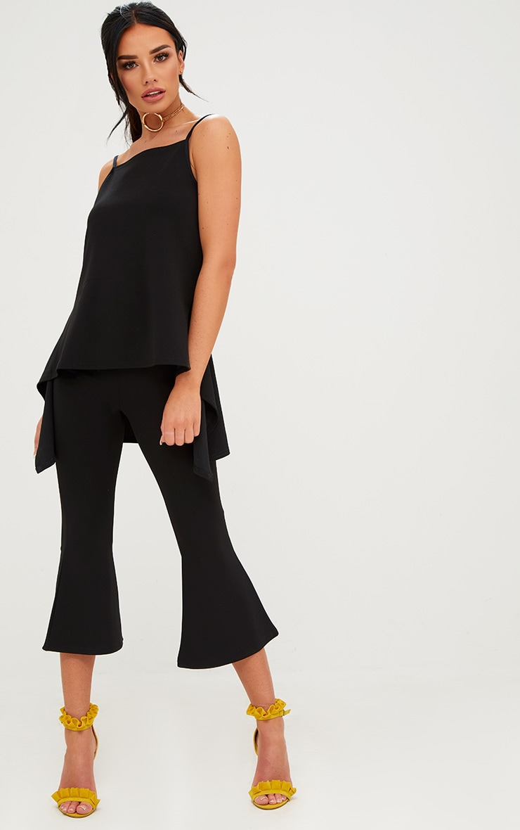 Black Cropped Flare Trousers 1