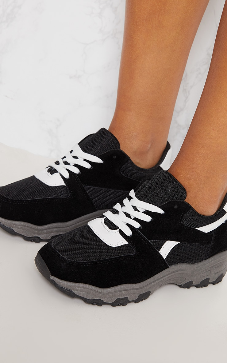 Black Lace Up Chunky Trainer 5