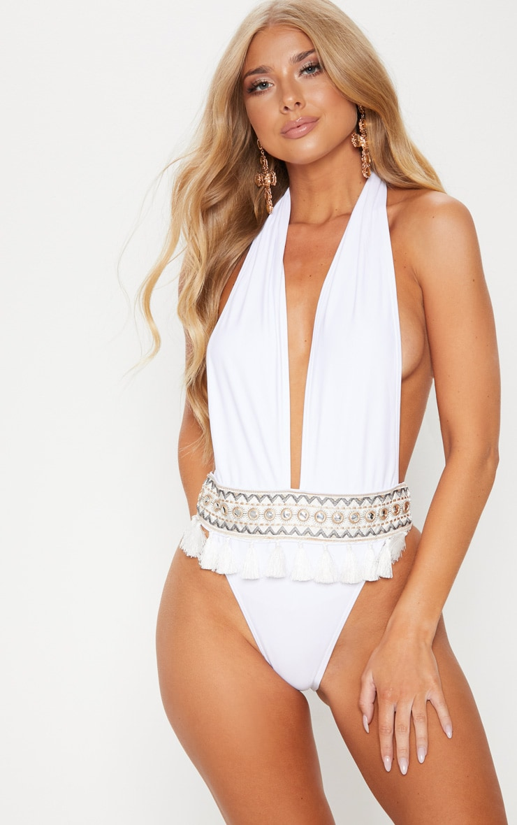 White Halter Tie Tassel Mirror Trimmed Swimsuit 1