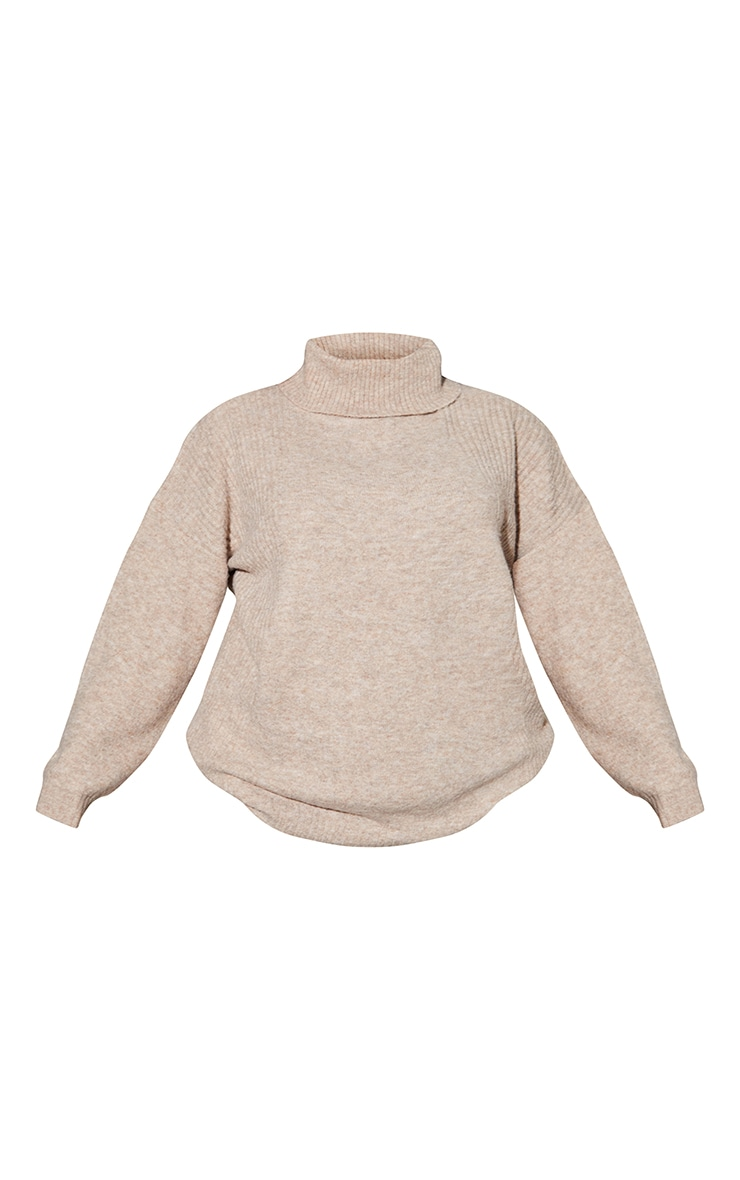 RENEW Plus Oatmeal Knitted Slouchy Roll Neck Jumper 5