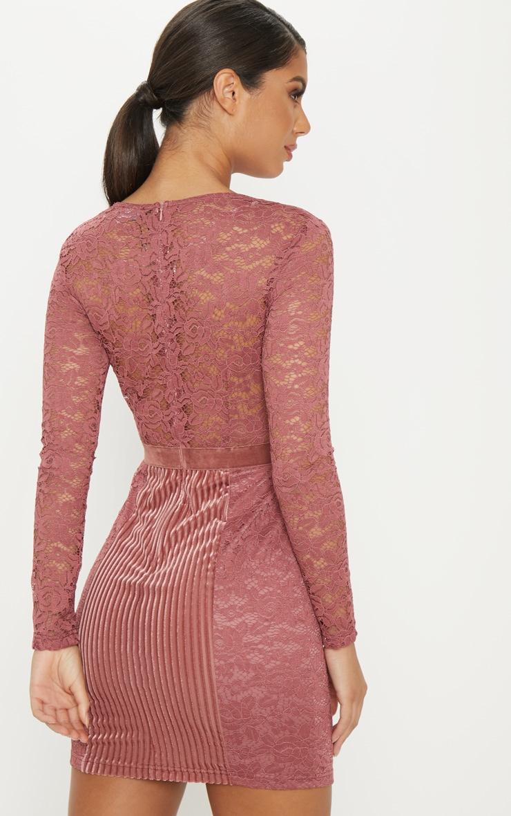 Rose Lace Velvet Insert Bodycon Dress 2