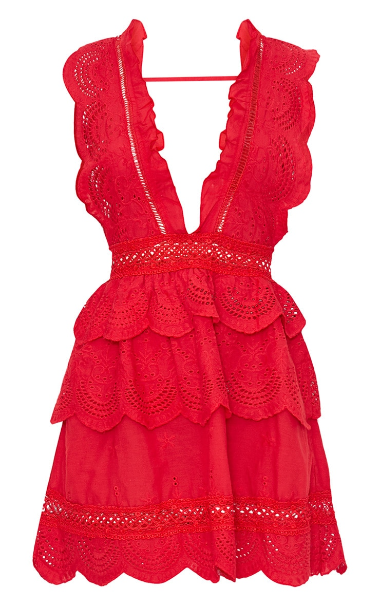 Thalia Red Crochet Lace Plunge Swing Dress 5