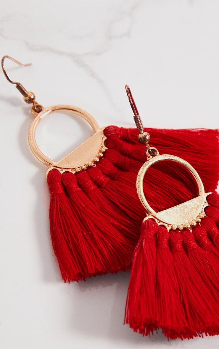 Red Short Tassel Earrings 5