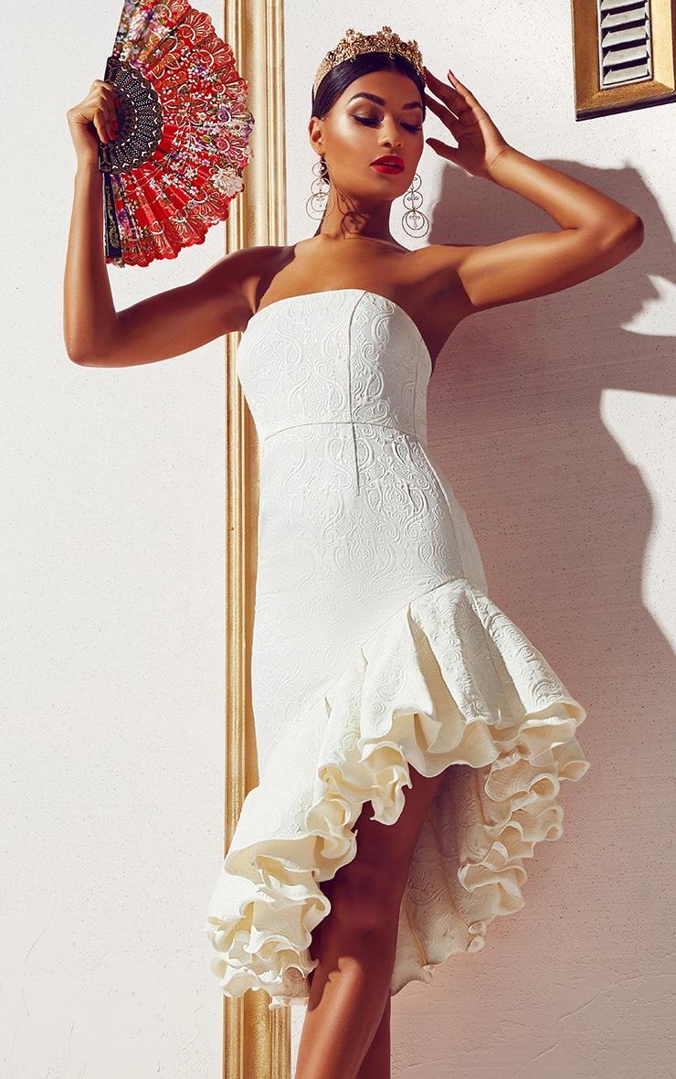 White Jacquard Bandeau Asymmetric Frill Hem Midi Dress 1