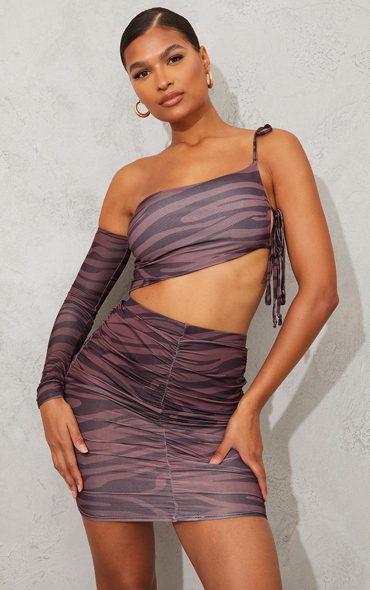 Brown Zebra Print Slinky Ruched Side Mini Skirt 4